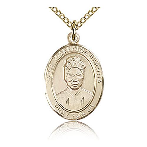 Gold Filled 3/4in St Josephine Bakhita Medal & 18in Chain