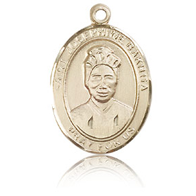 14kt Yellow Gold 3/4in St Josephine Bakhita Medal