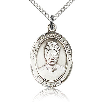 Sterling Silver 3/4in St Josephine Bakhita Medal & 18in Chain