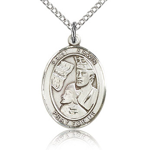 Sterling Silver 3/4in St Edwin Medal & 18in Chain