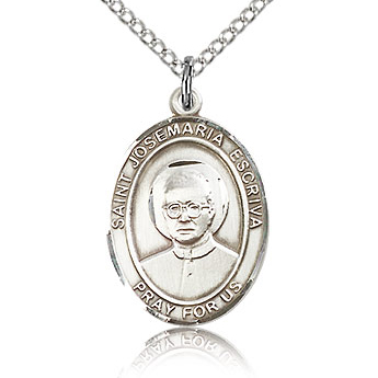 Sterling Silver 3/4in St Josemaria Escriva Medal & 18in Chain