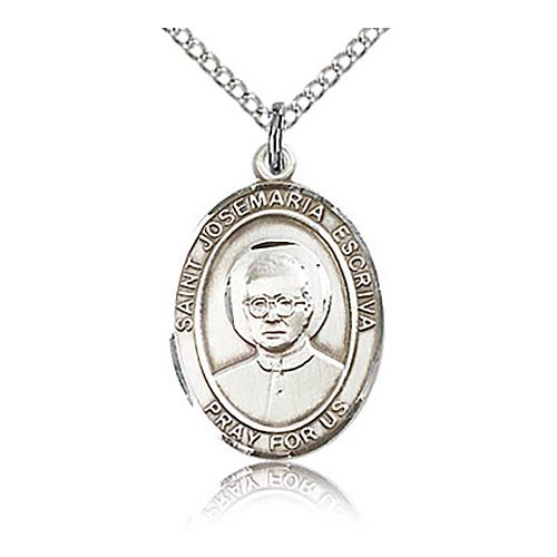 Sterling Silver 3/4in St Josemaria Escriva Medal & 18in Chain