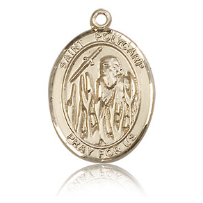 14kt Yellow Gold 3/4in St Polycarp Medal