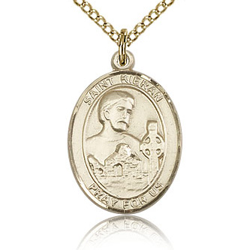 Gold Filled 3/4in St Kieran Medal & 18in Chain