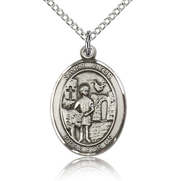 Sterling Silver 3/4in St Vitus Medal & 18in Chain