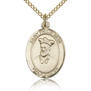 Gold Filled 3/4in St Philip Neri Medal & 18in Chain
