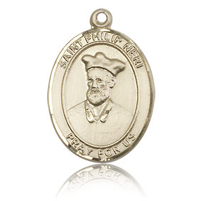 14kt Yellow Gold 3/4in St Philip Neri Medal