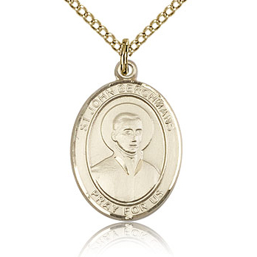Gold Filled 3/4in St John Berchmans Medal & 18in Chain