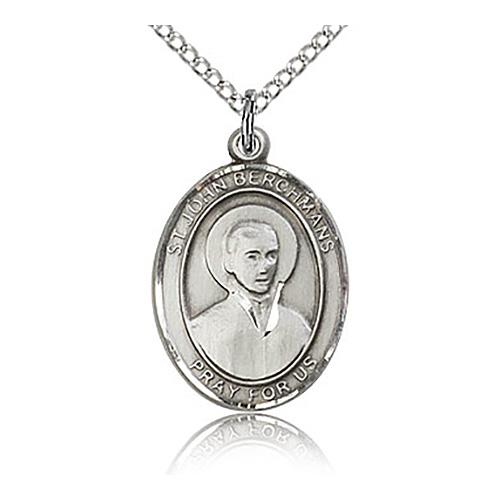 Sterling Silver 3/4in St John Berchmans Medal & 18in Chain
