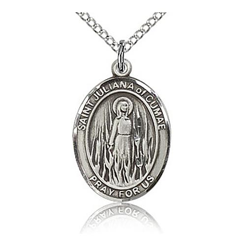 Sterling Silver 3/4in St Juliana Medal & 18in Chain