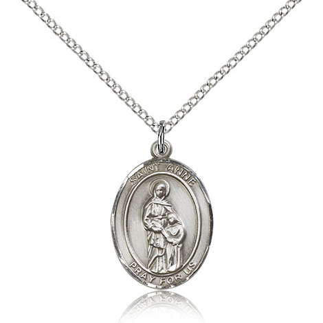 Sterling Silver 3/4in St Anne Medal & 18in Chain