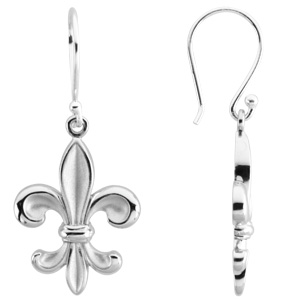 Sterling Silver Fleur-de-Lis Dangle Earrings