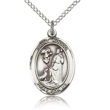 Sterling Silver 3/4in St Rocco Medal & 18in Chain