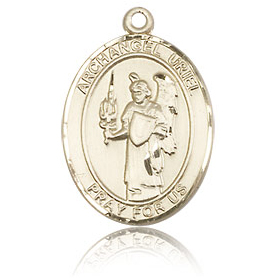 14kt Yellow Gold 3/4in St Uriel Medal