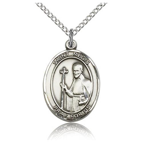 Sterling Silver 3/4in St Regis Medal & 18in Chain