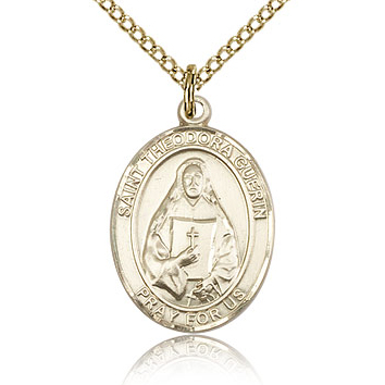 Gold Filled 3/4in St Theodora Guerin Medal & 18in Chain