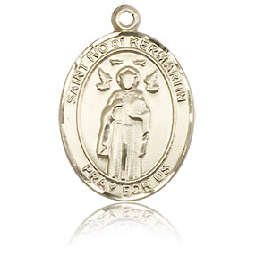 14kt Yellow Gold 3/4in St Ivo Medal