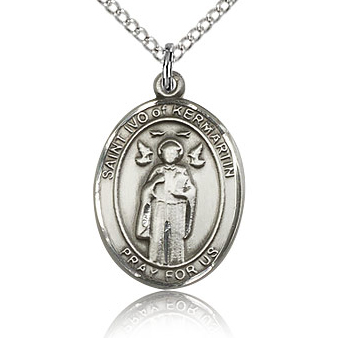 Sterling Silver 3/4in St Ivo Medal & 18in Chain