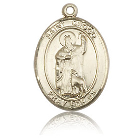 14kt Yellow Gold 3/4in St Drogo Medal