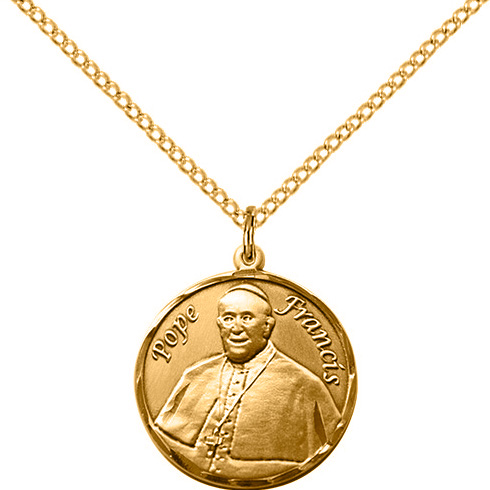 Gold Filled 3/4in Pope Francis Medal & 18in Chain