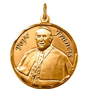 14kt Yellow Gold 3/4in Pope Francis Medal
