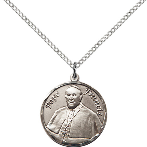Sterling Silver 3/4in Pope Francis Medal & 18in Chain