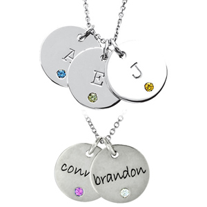 Sterling Silver Birthstone Disc by Posh Mommy