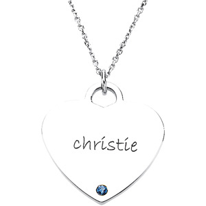 Sterling Silver Posh Mommy Sweetheart Pendant with Birthstone