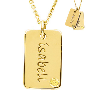 14kt Yellow Gold Birthstone Mini Dog Tag by Posh Mommy