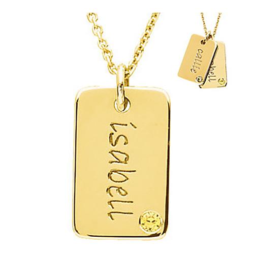 14kt Yellow Gold Birthstone Mini Dog Tag by Posh Mommy