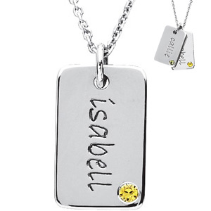 Sterling Silver Posh Mommy Birthstone Mini Dog Tag