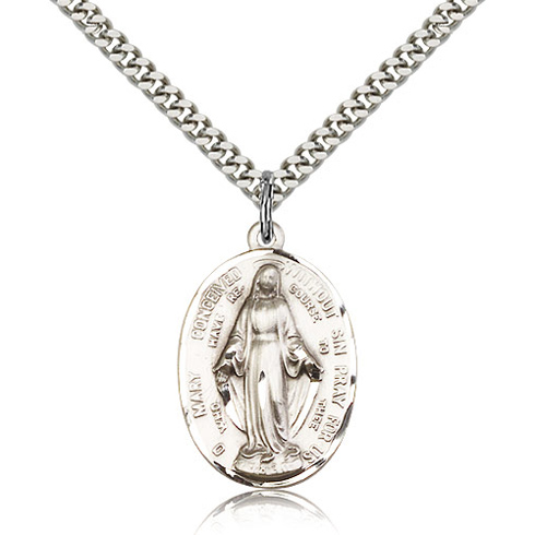 Sterling Silver 1in Immaculate Conception Pendant & 18in Chain