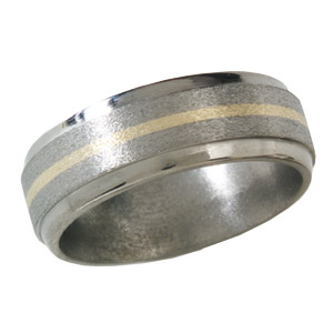 8mm Titanium Band with 14kt Yellow Gold Inlay and Stone Finish