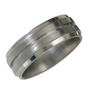 8mm Grooved Titanium Band with Satin Finish