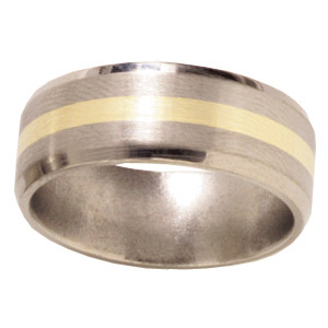 8mm Beveled Titanium Band with 14kt Yellow Gold Inlay