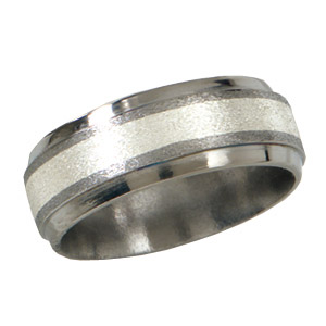 Titanium 8mm Stone Finish Wedding Band with Sterling Silver Inlay and Bevels