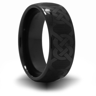 Black Ceramic 8mm Domed Ring with Knot Design