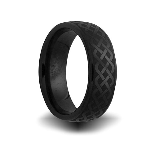 Black Ceramic 8mm Domed Ring with Weave Design