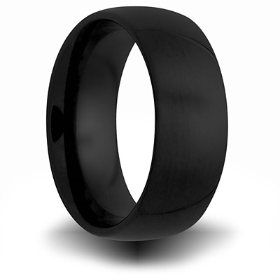 8mm Black Ceramic Domed Ring