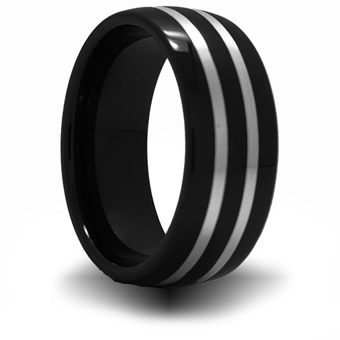 8mm Black Ceramic Domed Ring with Sterling Silver Inlay
