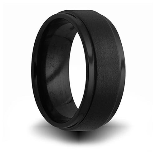 8mm Black Ceramic Brushed Step Down Ring