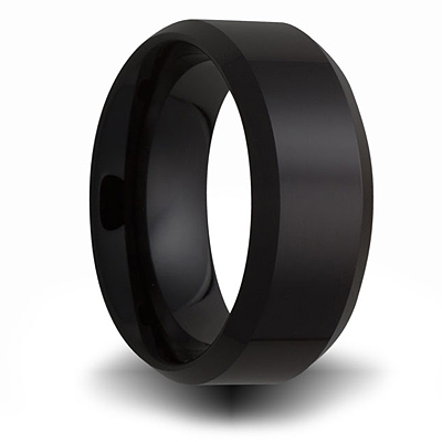 8mm Black Ceramic Pipe Cut Ring with Beveled Edges