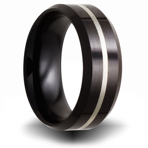 8mm Black Ceramic Ring with Sterling Silver Inlay