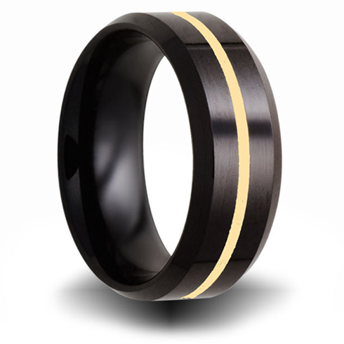 8mm Black Ceramic Ring with 14kt Yellow Gold Inlay