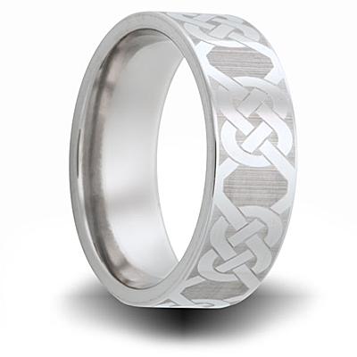 Knot Pattern Titanium 8mm Pipe Cut Ring