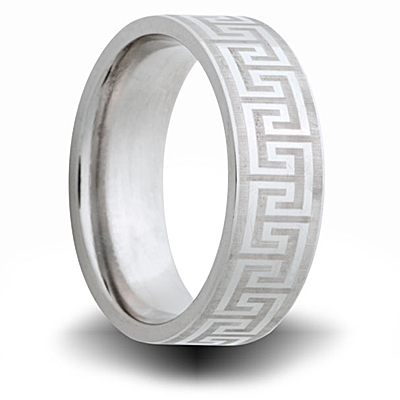 Cobalt 8mm Ring with Greek Pattern