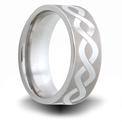 Cobalt 8mm Helix Pattern Ring