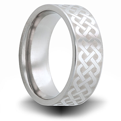 Cobalt 8mm Pipe Cut Ring with Fancy Weave Pattern