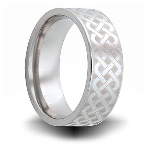 Weave Pattern Titanium 8mm Pipe Cut Ring