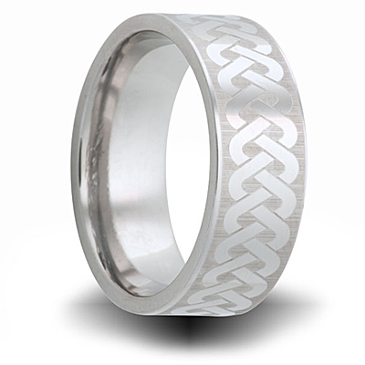 Weave Pattern Titanium 8mm Pipe Cut Ring